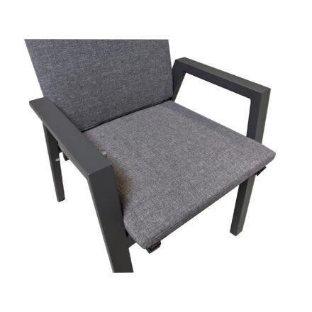 """Lesli Living """"Amir"""" Hochlehner, Gestell Aluminium anthrazit matt, Sitz Textilgewebe schwarz/grau, """"Grigio"""" Auflage anthrazit"""