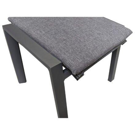 "Lesli Living ""Amir"" Gartenhocker, Gestell Aluminium anthrazit matt, Sitz Textilgewebe schwarz/grau, inkl. Kissen anthrazit"