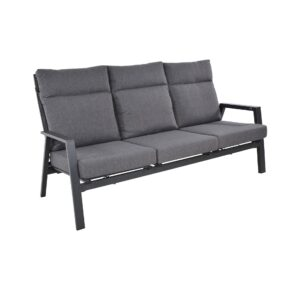 "Lesli Living Loungesofa 3-sitzig ""Ohio"", Alu charcoal, Bezug Olefin anthrazit"