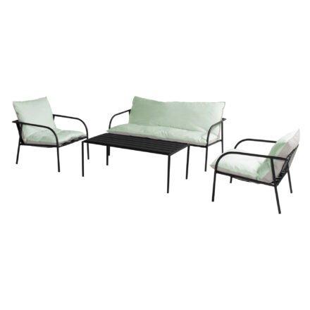 """Hartman """"Playa"""" Loungeset, 4-teilig mit 2-Sitzer Loungesofa, 2x Loungesessel und Loungetisch, Gestell Aluminium, Polster Sitzmöbel Sunbrella mint"""
