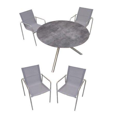 """Ploß """"Carlos"""" Tisch mit """"Amado"""" Stapelsessel, Gestelle Edelstahl gebrushed, Sitzfläche Textilgewebe taupe, Tischplatte HPL anthrazit marmoriert"""