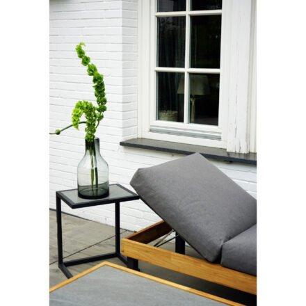 """Ploß Serie """"Skagen"""", Sofa mit Gestell Aluminium anthrazit & Teakholz natur (gebürstet), Polster grau, Beistelltisch & Couchtisch, Platte Keramik"""
