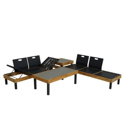 """Ploß Loungeserie """"Skagen"""", Sofa, Couch- & Ecktisch, Gestelle Aluminium anthrazit und Teakholz, Tischplatten Keramik"""