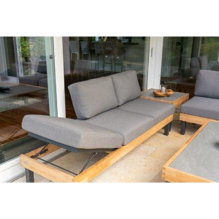 """Ploß Design-Sofa """"Skagen"""", Gestell Aluminium anthrazit und Teakholz, Polster grau"""
