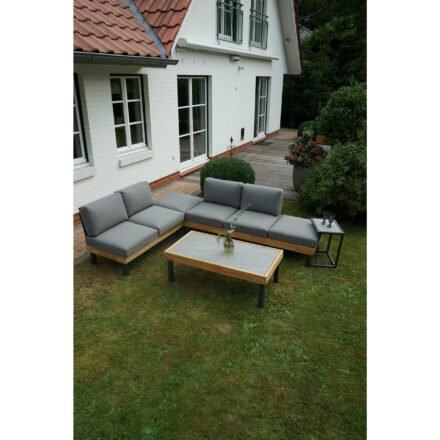 """Ploß Loungeserie """"Skagen"""", Design-Sofa, Couch- & Beistelltisch, Aluminium anthrazit mit Teakholz, Polster grau, Tischplatten Keramik"""