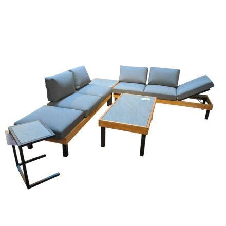 """Ploß Loungeserie """"Skagen"""", Design-Sofa, Couch-, Eck- & Beistelltisch, Aluminium anthrazit mit Teakholz, Polster grau, Tischplatten Keramik"""