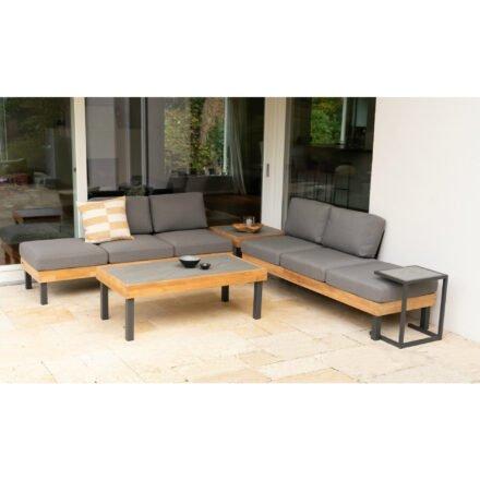 """Ploß Loungeset """"Skagen"""", Design-Sofa, Couch-, Eck- & Beistelltisch, Aluminium anthrazit mit Teakholz, Polster grau, Tischplatten Keramik"""