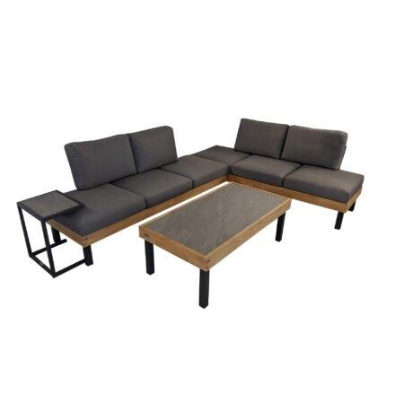 """Ploß Loungeserie """"Skagen"""", Design-Sofa, Couch- & Beistelltisch, Aluminium anthrazit mit Teakholz, Polster grau, Tischplatten Keramik, Couchtischbeine hoch"""