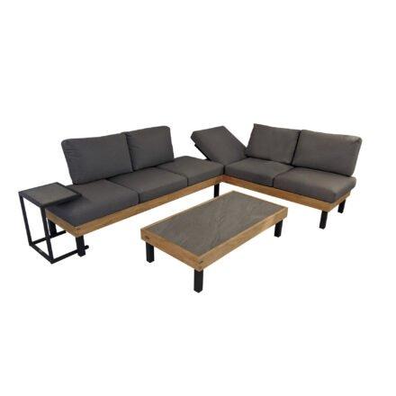 """Ploß Loungeserie """"Skagen"""", Design-Sofa, Couch- & Beistelltisch, Aluminium anthrazit mit Teakholz, Polster grau, Tischplatten Keramik, Couchtischbeine niedrig"""