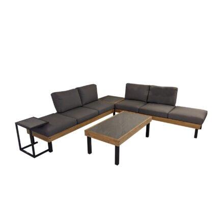 """Ploß Loungeserie """"Skagen"""", Design-Sofa, Couch-, Eck- & Beistelltisch, Aluminium anthrazit mit Teakholz, Polster grau, Tischplatten Keramik, Couchtischbeine hoch"""