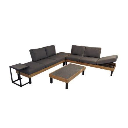 """Ploß Loungeserie """"Skagen"""", Design-Sofa, Couch-, Eck- & Beistelltisch, Aluminium anthrazit mit Teakholz, Polster grau, Tischplatten Keramik, Couchtischbeine niedrig"""