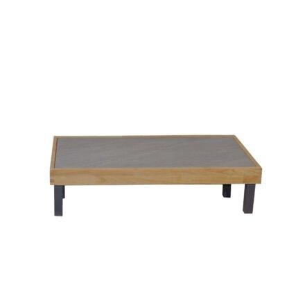 """Ploß Couchtisch """"Skagen"""", Gestell Aluminium anthrazit mit Teakholz natur (gebürstet), Tischplatte Keramik grau, 125x65 cm, Beine niedrig"""
