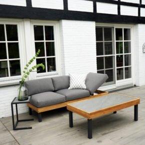 """Ploß Loungeset """"Skagen"""", Sofa mit Gestell Aluminium anthrazit & Teakholz natur (gebürstet), Polster grau, ohne Dekokissen, Beistelltisch & Couchtisch, Platten Keramik"""