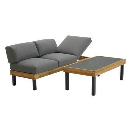 """Ploß Loungeserie """"Skagen"""", Designsofa & Couchtisch, Gestell Aluminium anthrazit mit Teak, Polster grau, Tischplatte Keramik"""