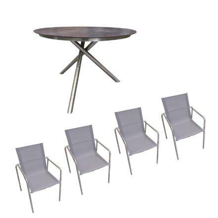 """Ploß Gartenmöbel-Set mit Tisch """"Carlos"""" und Stapelstuhl """"Amado"""", Gestelle Edelstahl, Sitzfläche Textilgewebe taupe, Tischplatte HPL anthrazit marmoriert Ø 110 cm"""