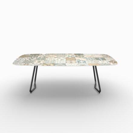 """SIT Mobilia Gartentisch """"Jura-Delemont"""" oval, Gestell Stahl eisengrau lackiert, Tischplatte Keramik Azulecho, 220x100 cm"""