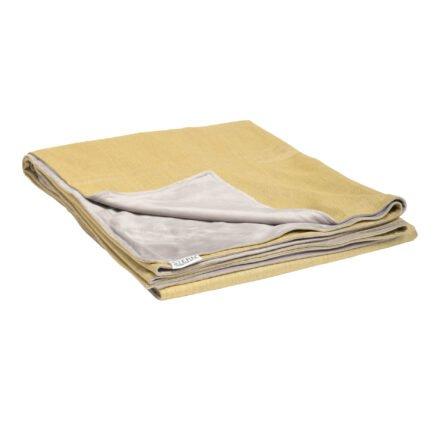 Stern Kuscheldecke 158x200 cm, Vorderseite gelb 100% Polyacryl, Rückseite hellgrau 100% Polyester
