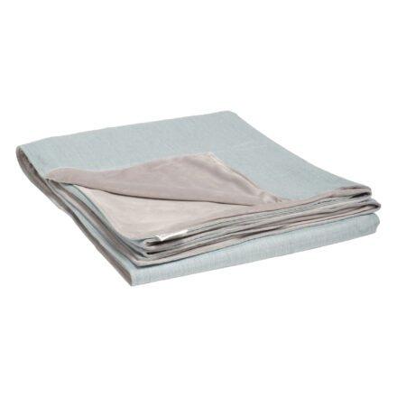 Stern Kuscheldecke 158x200 cm, Vorderseite hellblau 100% Polyacryl, Rückseite hellgrau 100% Polyester