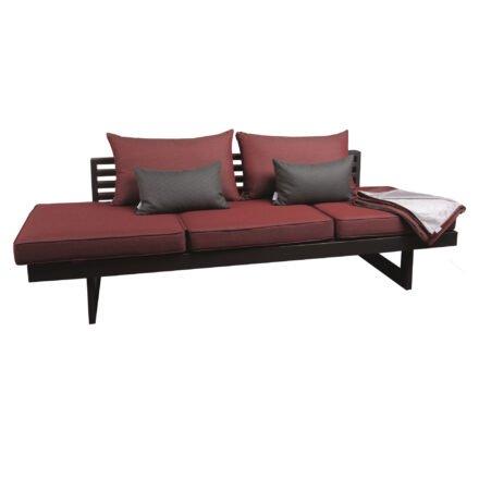 """Stern Lounge """"Holly"""", Alu anthrazit, Textilen karbon, Bezug Outdoorstoff rot inkl. 3 Sitzkissen, 2 Rückenkissen, 2 Dekokissen und 1 Kuscheldecke"""