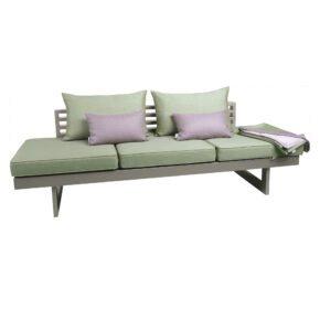 """Stern Lounge """"Holly"""", Alu graphit, Textilen silber, Bezug Outdoorstoff farngrün inkl. 3 Sitzkissen, 2 Rückenkissen, 2 Dekokissen und 1 Kuscheldecke"""