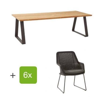 """4Seasons Outdoor Gartenmöbel-Set mit Tisch """"Basso"""" und Diningsessel """"Samoa"""", Rope anthrazit, Tisch mit zusätzlichem Mittelfuß (fehlt auf der Abb.)"""