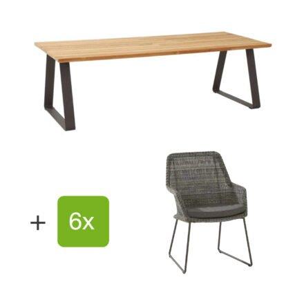 """4Seasons Outdoor Gartenmöbel-Set mit Tisch """"Basso"""" und Diningsessel """"Samoa"""", Rope charcoal, Tisch mit zusätzlichem Mittelfuß (fehlt auf der Abb.)"""