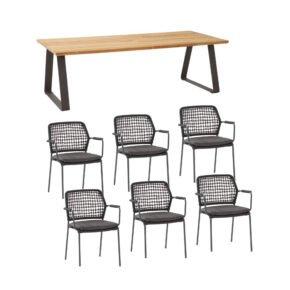 """4Seasons Outdoor Gartenmöbel-Set mit Tisch """"Basso"""" und Diningsessel """"Barista"""", Tisch mit zusätzlichem Mittelfuß (fehlt auf der Abb.)"""
