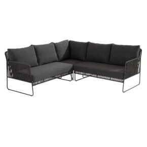 "4Seasons Outdoor ""Sapore"" Loungeset, Edelstahl anthrazit, Rope black, Kissen grau"