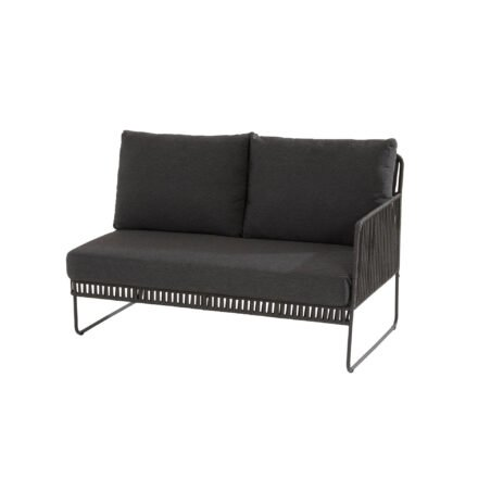 "4Seasons Outdoor ""Sapore"" Loungesofa links, Edelstahl anthrazit, Rope black, Kissen grau"