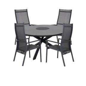"""Brafab Gartenmöbel-Set mit Tisch """"Kenora"""" Alu anthrazit/Platte Keramik grau, Positionsstuhl/Hochlehner """"Avanti"""", Alu anthrazit/Textilgewebe grau"""