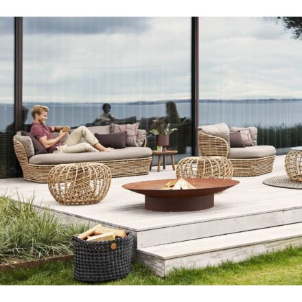 """Cane-line """"Basket"""" Loungeserie, Geflecht natural, AirTouch-Kissen taupe"""