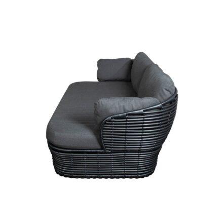 """Cane-line """"Basket"""" Loungesofa, Geflecht graphite, AirTouch-Kissen grey"""