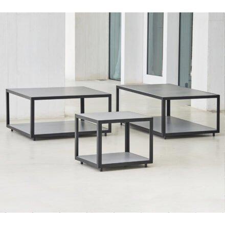 "Cane-line Loungetisch ""Level"", Gestell Aluminium lavagrau, Tischplatte Keramik hellgrau"