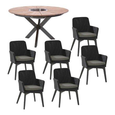 """Gartenmöbel-Set mit Tisch 140cm """"Lyon"""", Edelstahl anthrazit, Tischplatte Teak, und Diningsessel """"Lisboa"""", Aluminium anthrazit, Kunststoffgeflecht anthrazit"""
