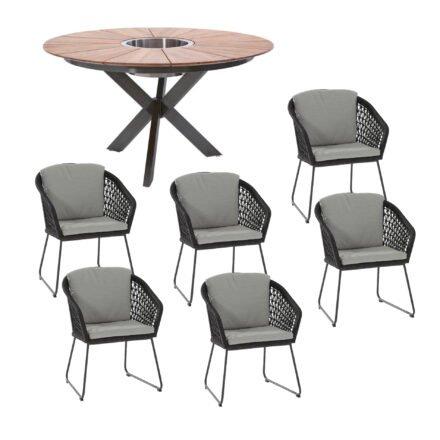 """Gartenmöbel-Set mit Tisch 140cm """"Lyon"""", Tischplatte Teak, und Diningsessel """"Mila"""", Edelstahl anthrazit, Sitzfläche Rope black"""