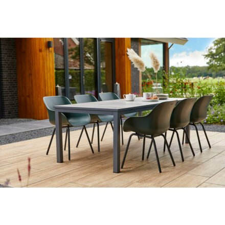 "Hartman ""Comino"" Gartentisch, Gestell Aluminium schwarz, Tischplatte Keramik grey wood mit ""Sophie"" Gartenstuhl"