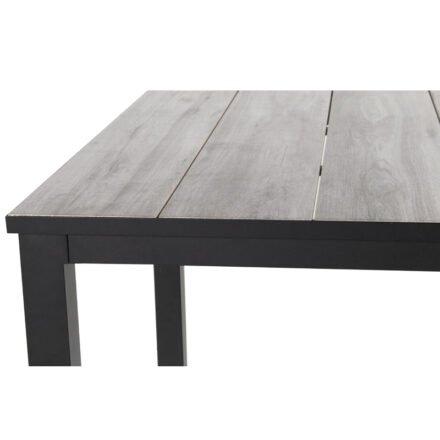 """Hartman """"Comino"""" Gartentisch, Gestell Aluminium schwarz, Tischplatte Keramik grey wood"""