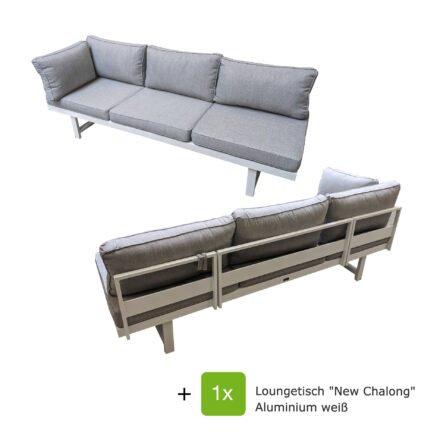 """Home Islands """"New Chalong"""" Loungeset 3-teilig, Gestell Aluminium weiß, Polster hellgrau"""