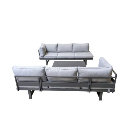 """Home Islands """"New Chalong"""" Loungeset mit 2x Sofa und Loungetisch, Gestelle Aluminium anthrazit, Polster hellgrau"""
