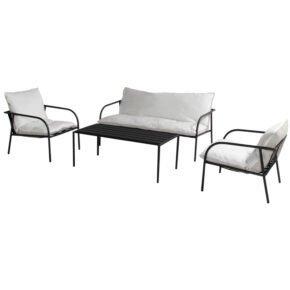 "Hartman ""Jeremy"" Loungeset 4-tlg, Gestell Aluminium schwarz, Polster Sunbrella marble"