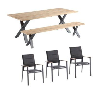 """Niehoff Gartenmöbel-Set mit Tisch und Bank """"Novara"""" und Stapelstuhl """"Revent"""", Aluminium anthrazit, Tischplatte Teak, Sitz-und Rückenfläche gepolstert schwarz"""