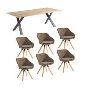 """Niehoff Gartenmöbel-Set mit Tisch """"Novara"""" und Schalenstuhl """"Nizza"""", Alu anthrazit, Tischplatte Teak, Polyrattan red pine"""