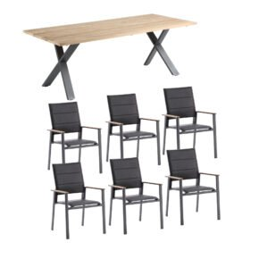 """Niehoff Gartenmöbel-Set mit Tisch """"Novara"""" und Stapelstuhl """"Revent"""", Aluminium anthrazit, Tischplatte Teak, Sitz-und Rückenfläche gepolstert schwarz"""
