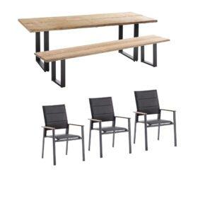 """Niehoff Gartenmöbel-Set mit Tisch und Bank """"Solid"""" und Stapelstuhl """"Revent"""", Aluminium anthrazit, Tischplatte Teak, Sitz-und Rückenfläche gepolstert schwarz"""