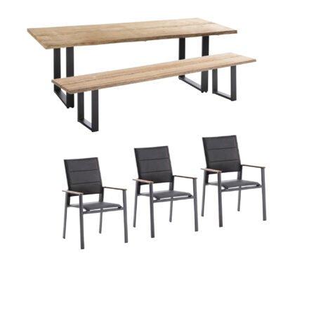 """Niehoff Gartenmöbel-Set mit Tisch und Bank """"Secondo"""" und Stapelstuhl """"Revent"""", Aluminium anthrazit, Tischplatte Teak, Sitz-und Rückenfläche gepolstert schwarz"""