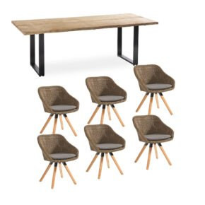 """Niehoff Gartenmöbel-Set mit Tisch """"Secondo"""" und Schalenstuhl """"Nizza"""", Alu anthrazit, Tischplatte Teak, Polyrattan red pine"""