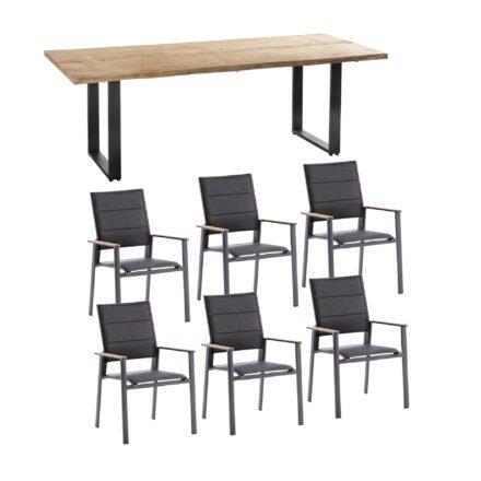 """Niehoff Gartenmöbel-Set mit Tisch """"Solid"""" und Stapelstuhl """"Revent"""", Aluminium anthrazit, Tischplatte Teak, Sitz-und Rückenfläche gepolstert schwarz"""