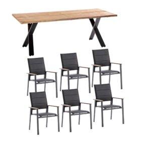 """Niehoff Gartenmöbel-Set mit Tisch """"Xenio"""" und Stapelstuhl """"Revent"""", Aluminium anthrazit, Tischplatte Teak, Sitz-und Rückenfläche gepolstert schwarz"""