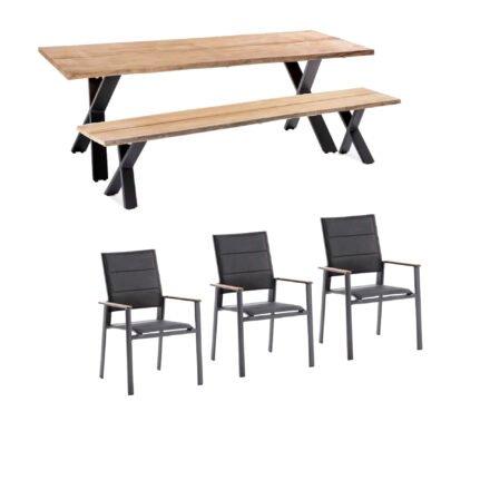 """Niehoff Gartenmöbel-Set mit Tisch und Bank """"Xenio"""" und Stapelstuhl """"Revent"""", Aluminium anthrazit, Tischplatte Teak, Sitz-und Rückenfläche gepolstert schwarz"""