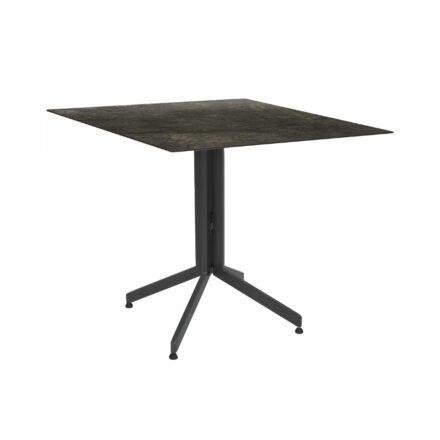 Stern Bistrotisch 80x80 cm, Gestell Alu anthrazit, Tischplatte HPL Dark Marble